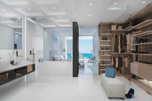Bathroom with spacious walk-in wardrobe