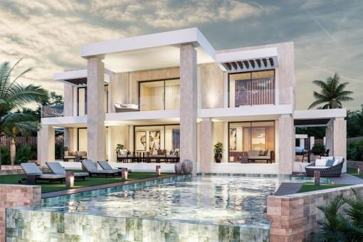 Great off plan villa with 4 bedrooms near by golf course in Los Arqueros resort, Benahavis