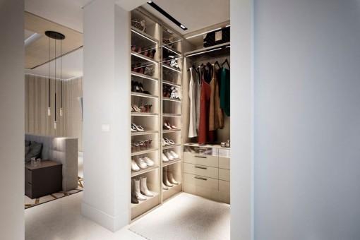 Classy walk-in wardrobe