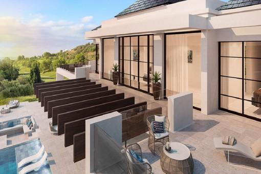 Spacious terrace on the upper floor