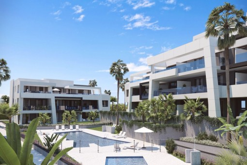 New off plan development, 3 bedrooms ground floor apartment in modern design on the New Golden Mile, Estepona