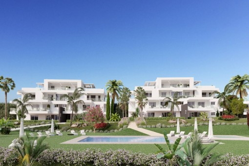 Perfect 2 bedroom first floor apartment with garage, near to the Atalaya golf course in Benahavis