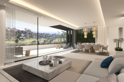 Puristic living and dining area