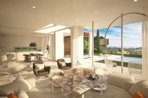 Open living and dining area with great pool views