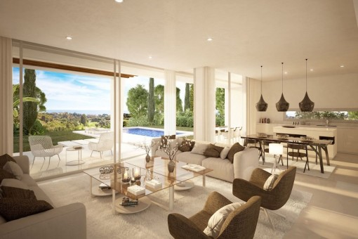 Open living and dining area with great views to the outdoor area