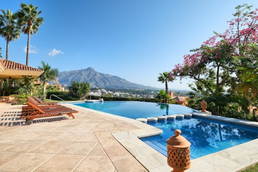 Well-maintained pool area with impressive mountain views