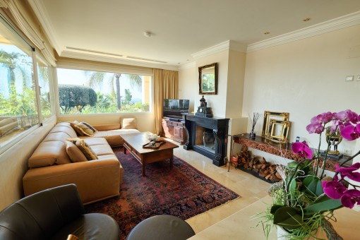 Another living area with fireplace