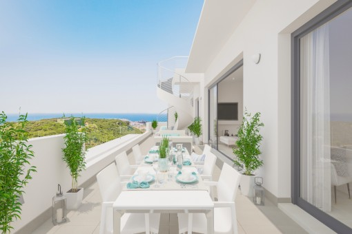 Spacious terrace with stunning sea views