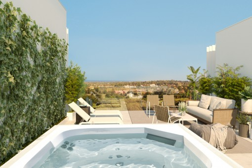 Spacious terrace with jacuzzi and open views