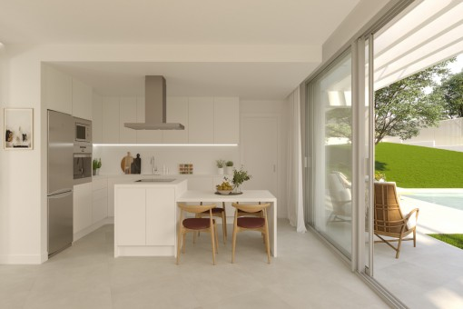 The kitchen offers a direct access to the terrace