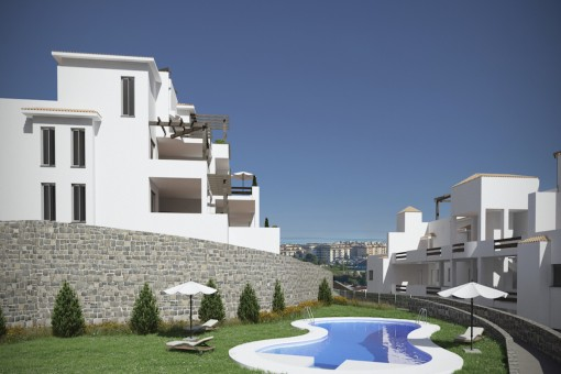 Fantastic middle floor apartment with 2 bedrooms and sea views in Casares