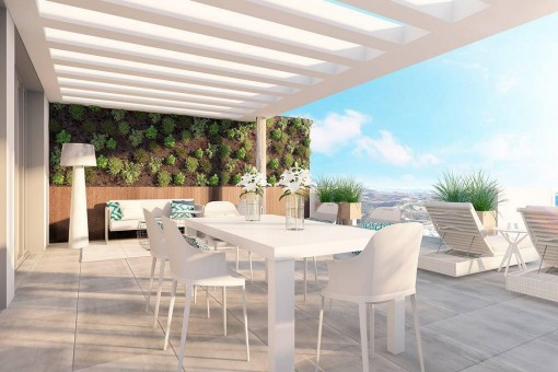 Apartments and penthouse flats in a private community with swimming pools in La Cala de Mijas