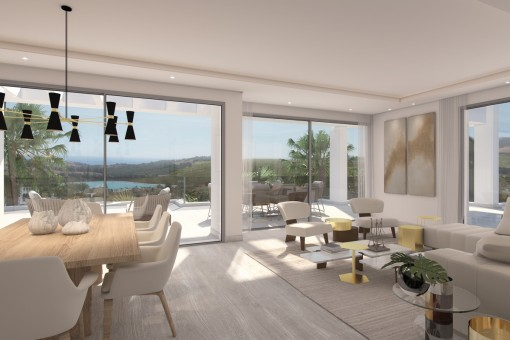 Brand new middle floor apartments with sea views and private Lagoon in Casares