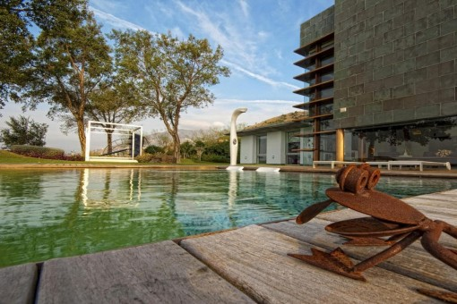 Idyllic pool area with shower