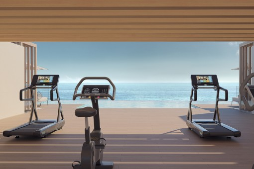 Gym in front of the infinity pool