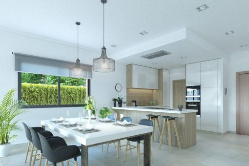 Views of the kitchen and dining area
