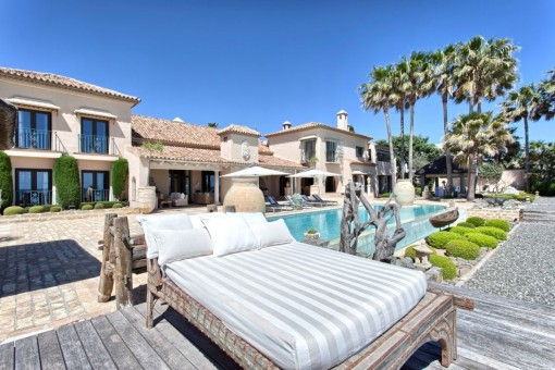 Spacious pool area with views to the villa