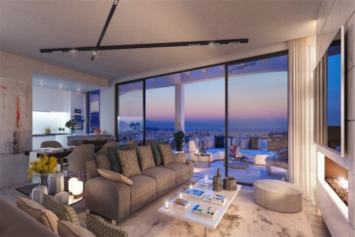 Puristic living area with impressive views